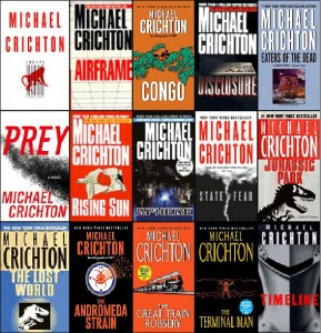 michael crichton's books in montage